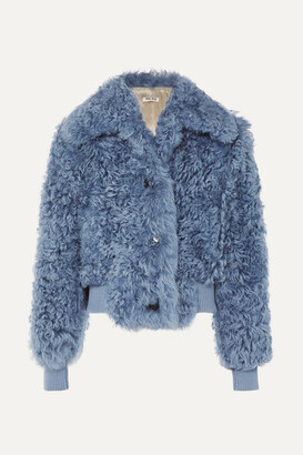 Miu Miu Cropped Shearling Jacket - Blue