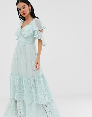 Forever New tiered maxi dress with lace up back in mint-Green