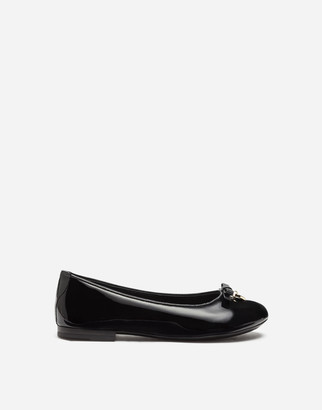 Dolce & Gabbana Patent Leather Ballet Flats With Charm