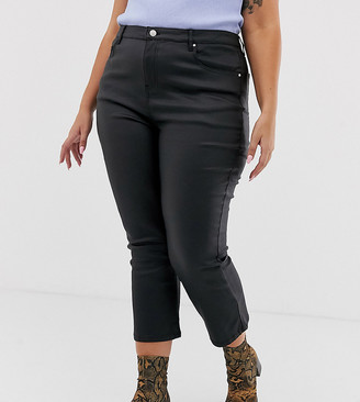 Urban Bliss Plus coated crop kick flare jeans
