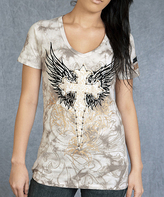 Rebel Spirit Cement Cross & Wings V-Neck Tee - Women