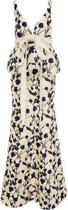 Brock Collection Bow-Detailed Floral-Jacquard Peplum Gown