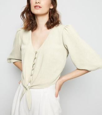 New Look Linen Look Tie Button Front Top