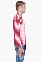 Comme des Garcons Red Striped Logo Emblem Jersey Shirt