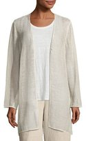 Eileen Fisher Organic Linen-Blend Mesh V-Neck Jacket, Undyed Natural