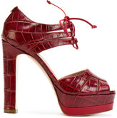 Twin-Set lace-up platform sandals - women - Leather - 36