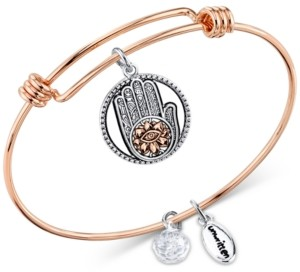 Unwritten Two-Tone Hamsa Charm Bangle Bracelet in Rose Gold-Tone Stainless Steel & Silver-Plate