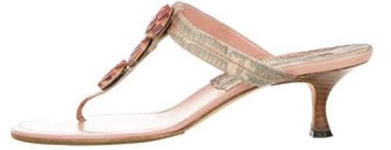 Manolo Blahnik Embellished Leather Thong Sandals Pink Embellished Leather Thong Sandals