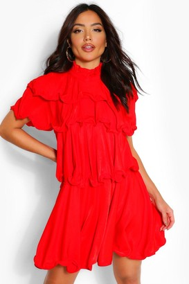 boohoo High Neck Extreme Ruffle Swing Dress