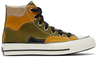 Converse Green and Yellow Chuck 70 High Sneakers