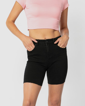 ONEBYONE - Women's Black Denim - Kelsey Shorts - Size One Size, 6 at The Iconic