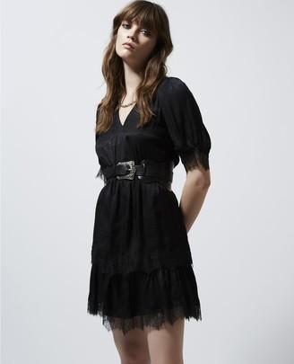 The Kooples Black jacquard short-sleeve rock-style dress