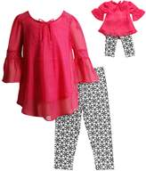 Dollie & Me Girls 4-14 Tunic Top & Geometric Print Capri Leggings Set