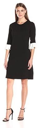 Helene Berman Women's Contrast Frill Cuff Dress