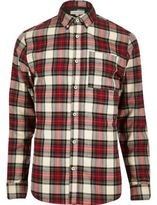 River Island MensRed plaid check flannel shirt