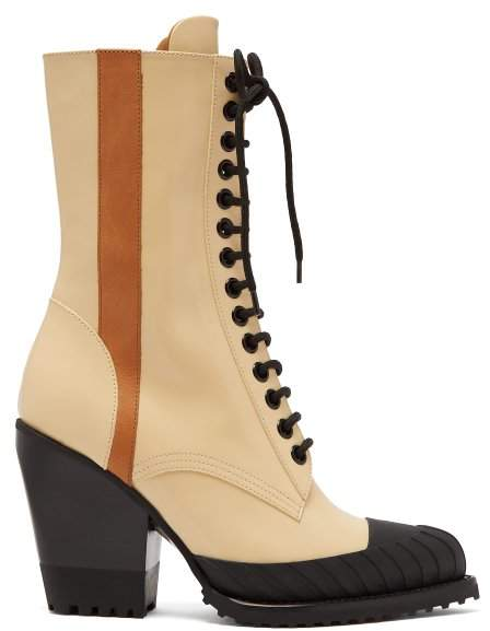 Chloé Rylee Lace Up Leather Boots - Womens - Black Cream