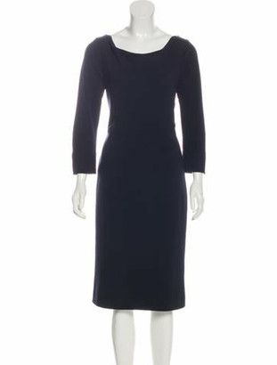 Oscar de la Renta Wool Midi Dress Navy
