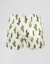 Asos Woven Boxers With Cactus Print