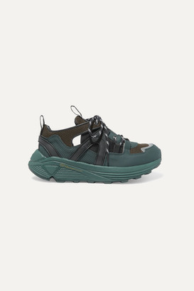 Ganni Logo-print Suede, Rubber And Mesh Sneakers - Army green