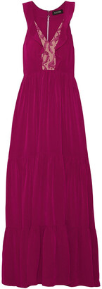 Saloni Suzi Ruffle And Lace-trimmed Crinkled-gauze Maxi Dress