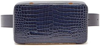 Lutz Morris Evan Crocodile-effect Leather Belt Bag - Navy
