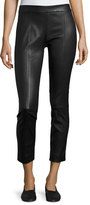 Vince Stitch-Front Leather Leggings, Black