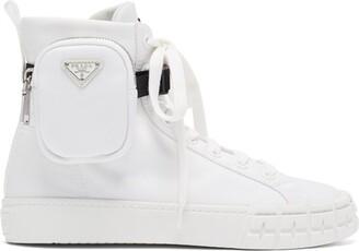 Prada Wheel Zipped-pouch High-top Re-nylon Trainers - White