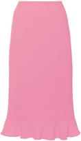 Oscar de la Renta Wool Crepe Ruffled Hem Pencil Skirt