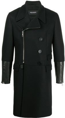 Neil Barrett Tailored Coat With Long Leather Cuffs