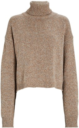 Tibi Cropped Recycled Cashmere Turtleneck Sweater