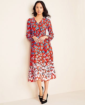 Ann Taylor Petite Multicolored Poppy Belted Midi Dress