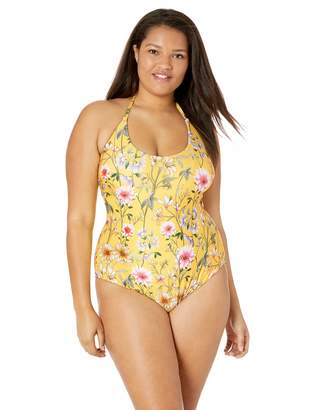 Lucky Brand Women's Plus Size Halter One Piece Swimsuit