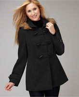 Style&co. Coat, Faux Fur Trim Hooded Toggle