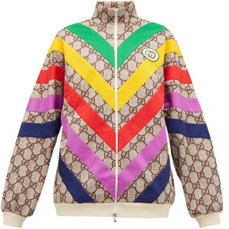 Gucci Supreme-jacquard Rainbow-applique Track Jacket - Brown Multi