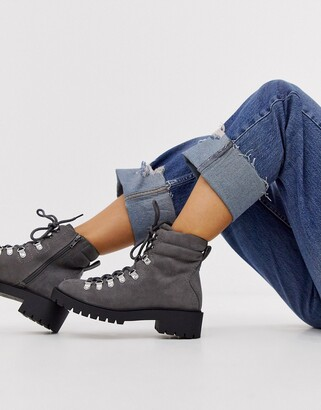 New Look lace detail chunky flat hiker boots in mid grey
