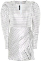 Rotate by Birger Christensen Metallic striped puff-sleeve minidress