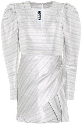 Rotate by Birger Christensen Metallic striped puff-sleeve minidress