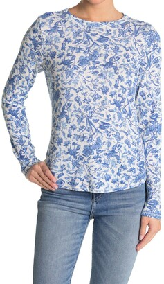 Lucky Brand Burnout Waffle Knit Floral Print Long Sleeve T-Shirt