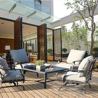 Bronx Marchetti Outdoor 5 Piece Multiple Chairs Seating Group with Cushions Ivy