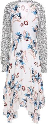 Joie Morley Asymmetric Georgette-paneled Floral-print Silk-crepe Midi Dress