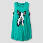Miss Chievous Girls' Tank with Pug Sequin Applique & Striped Bralette - Turquoise