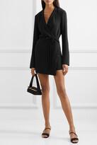 Thumbnail for your product : Orseund Iris Boxy Crepe Wrap Mini Dress - Black
