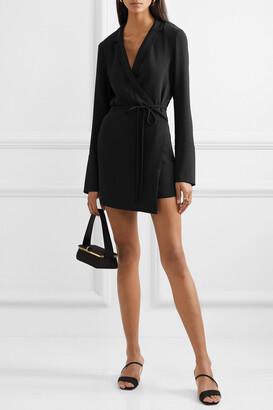 Orseund Iris Boxy Crepe Wrap Mini Dress - Black