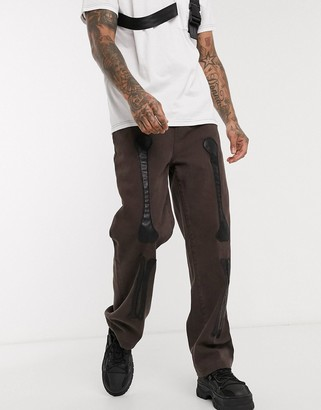 Jaded London skate jean with PU bone applique in brown