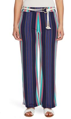 Chaus Stripe High Waist Belted Pants