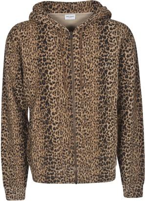 Saint Laurent Animal Print Zip Hooded Jacket