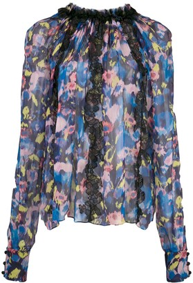 Jason Wu Collection Floral Print Sheer Blouse