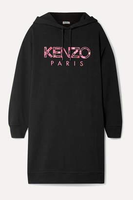 Kenzo Oversized Hooded Appliquéd Cotton-jersey Mini Dress - Black