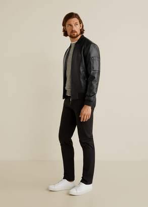 MANGO MAN - Faux-leather bomber jacket black - L - Men
