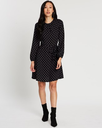 Dorothy Perkins Spot Long Sleeve Fit-and-Flare Dress